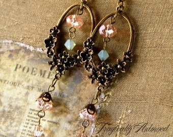 LAST CHANCE Clearance 50% Off Antique Brass Pastel Pink Green Victorian Spring Earrings 3 1/4 inches