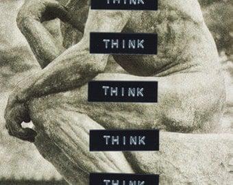 think - collage original 10.1cm x 15.4cm
