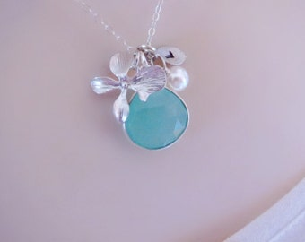 Aquamarine Necklace, Initial Necklace, Personalized Necklace, Gift for Friend, Mothers Necklace, Friendship Necklace, Orchid Necklace,