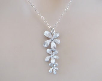 Orchid Necklace, Delicate Necklace, Dainty Necklace, Simple Necklace, Flower Necklace, Minimal Necklace, Bridal Necklace, Wedding Necklace