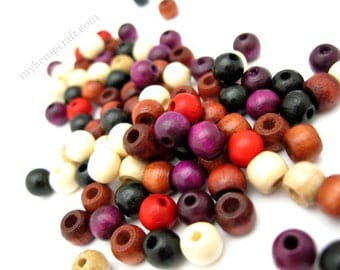 Small Wood Beads, Assorted Color Wooden Beads 5x6mm - 100pc