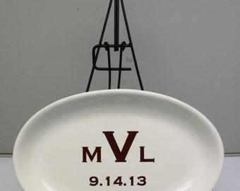 Custom Wedding Anniversary Monogram Platter