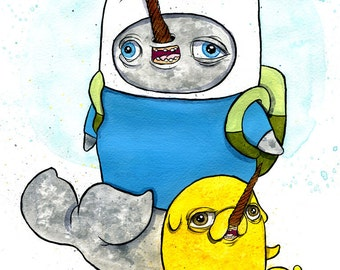 Finn and Jake as Narwhals