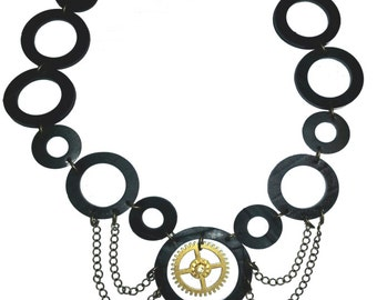 Steampunk necklace upcycled rubber circles and clockwheel