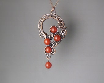 Red carnelian necklace, natural stone copper necklace, carnelian handmade pendant