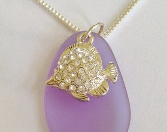 Lavender Sea Glass and Crystal Fish Necklace