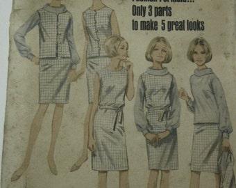 Butterick 4256 Womens 60s Dress Blouse Jacket Sewing Pattern Size 12 Bust 32