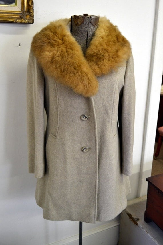 1960s Belson Tar Shire Wool and Fur Coat
