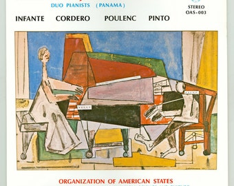 Nelly and Jaime Ingram Duo Pianists from Panama play Infante, Cordero, Poulenc, Pinto, Vintage Vinyl Record Album OAS LP