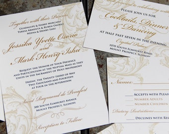 Trendy Type Theatrical Wedding Invitations Kraft paper style