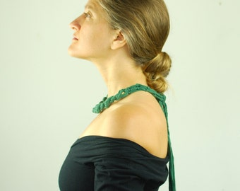 SALE Emerald Green Statement Necklace - Chunky Necklace - Belt - Organic Clothing  - Eco Friendly - Eco Fashion