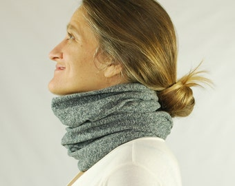 Circle Scarf - Infinity Scarf  - Chunky  - Cowl - Heathered Gray - Organic Cotton Hemp Jersey - Organic Clothing