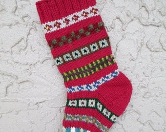 Hand knit Christmas stocking rose red #1 with FREE US Shipping