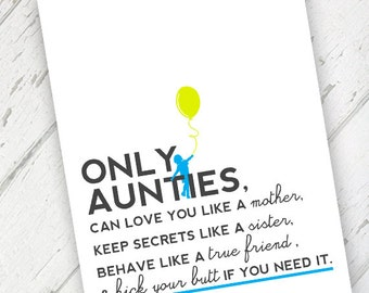 aunty  etsy, Birthday card