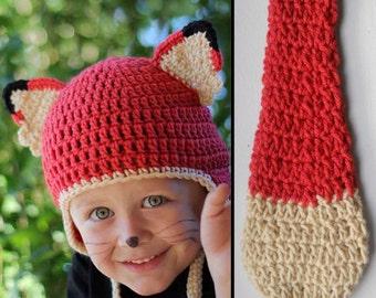 Kids Fox Costume Halloween Crochet Earflap Hat and Tail Set - Childrens Accessories by Julian Bean