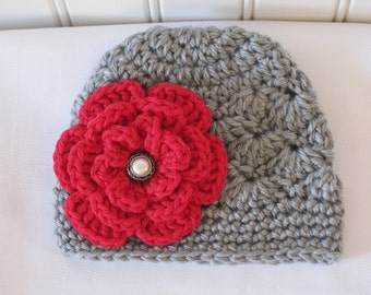 Baby Hat - Crochet Hat - Girls Hat - Newborn Hat - Winter Hat - Toddler Hat - Light Gray (Grey) with Red Flower - sizes Newborn to 3 Years