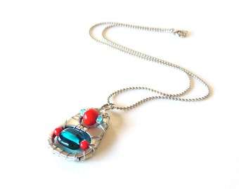 Upcycled PULL TAB NECKLACE - red and turquoise - soda pop tabs - upcycled/eco-friendly jewelry - under 20 dollars