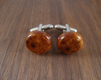 Natural Wooden Men's Cuff Links - Round - Amboyna Burl wood - Wedding, anniversary, any Special Occasion