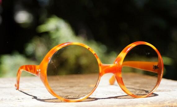 1960's Mod Round Oversized Italian Sunglasses, Jackie O