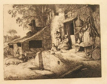 Antique Etching by Adriaen van Ostade /The Spinner/