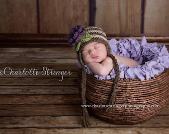 Stripe Flower Beanie in Oatmeal, Barley and Dusty Purple Available in Newborn to 5 Year Size- MADE TO ORDER