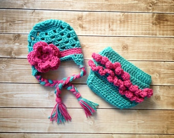 The Sofia Flower Beanie with Tassles in Teal and Hot Pink and Matching Diaper Cover Available in Newborn to 24 Months Size- MADE TO ORDER