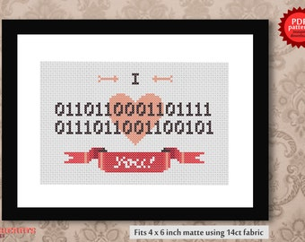 Binary Love - Geeky Romantic PDF Cross Stitch Pattern