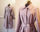 Trench Coat /  70s Princess Jacket Belted  / 1970s Pink Dusty Rose Pastel Womens Vintage S Small M Medium 4 6 8 Classic Midi Knee Length