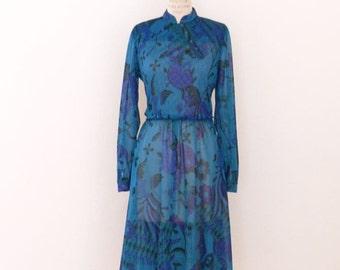 1970's-80's Vintage Mandarin Style Floral Dress, Ruche Blue Teal Aqua Purple Vintage Dress - M