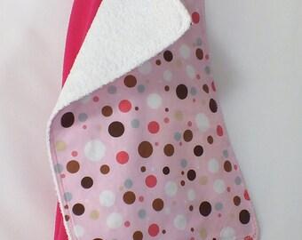 Bright Fuschia 48 X 48 Muslin Swaddling Blanket & Burp Cloth Combo Set - You Choose Burp Cloth Print - Burp is Terry Backed, very absorbant