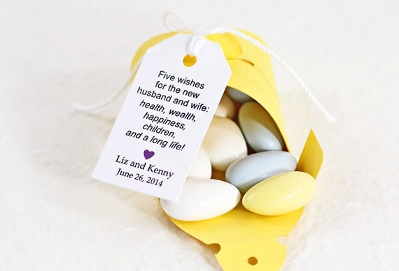 Jordan Almond Favor Tags Traditional Poem Dragees By IDoTags