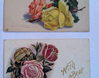 Vintage 1910s 1920s birthday postcards with pink and yellow roses