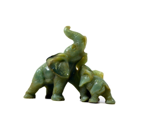 Vintage Mother And Baby Elephant Sculpture Jade By