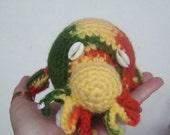 Crochet Marine Animal Walrus-RUFUS-Rasta Stuffed Walrus with Cowrie Shell eyes-Amigurumi Walrus Plush Home Decor-Collectible Crochet Art
