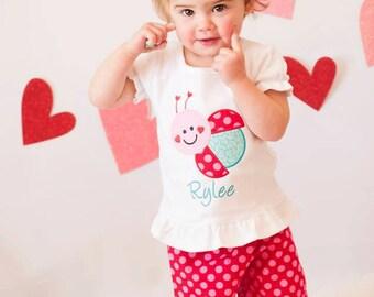 Ladybug Outfit - Pants Outfit, Ladybug Birthday, Girls Ruffle Pants Outfit, Ladybug Party, Girls Ruffle Pant Sets, Girls Valentine Shirt