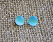 Turquoise Cats Eye Glass . Studs . Earrings . Catlin Collection