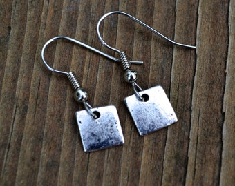 Silver Squares . Earrings