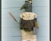 Primitive Folk Art Crow Halloween Witch Crow Primitive Crow Halloween, Prim Witch Crow