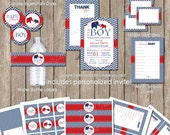 Boy elephant baby shower invitation package, red and navy, chevron baby shower, printable(PARTIAL INSTANT DOWNLOAD) - elephant3