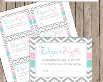 "Diaper Raffle- Pink and Blue Gender Reveal ""Diaper Raffle Card"" - Baby Shower Invitation Insert Card - GenderReveal1  INSTANT DOWNLOAD"