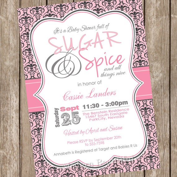 Damask Sugar And Spice Girl Baby Shower Invitation Pink Gray