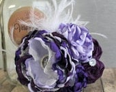 Couture boutique Hair piece clip purple full glitz pageant topper, lace and feathers for newborn  toddler  child  girl