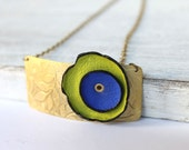Etched Brass Necklace Leather Flower Rustic Bright Green Royal Blue