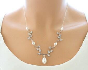 Bridal Jewelry, Pearl Wedding Necklace, Pearl Necklace, Swarovski Crystal Rhinestone, Wedding jewelry, Bridal Necklace
