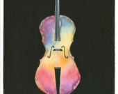 Rainbow Cello Painting - A print of an original painting to fit an 11x14 frame