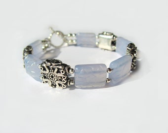 Carved Chalcedony And Antique Sterling Silver Bracelet