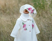 Ivory and pink apple blossom baby coat