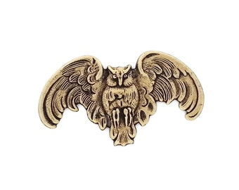 Ox Antiqued Brass Owl in Flight with Wings Spread Stamping Qty 1 Made in the USA Brass from Dr Brassy Steampunk