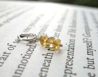 TINY November Birthstone AA Quality Citrine Dangle / Petite Delicate Jewelry, Glitter Golden Autumn Fall Yellow