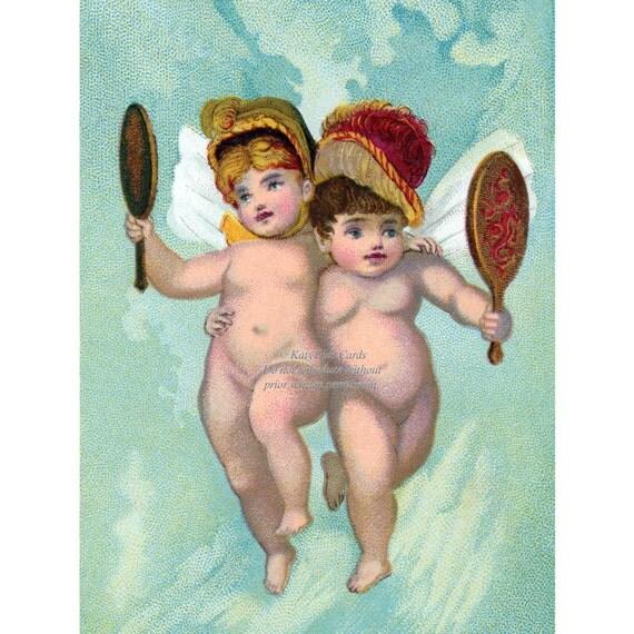 Fairie Greeting Card - Cherubs in Hats - Victorian Trade Card Repro